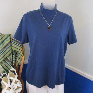 Vintage Dark Royal Blue Mock Turtleneck T-Shirt